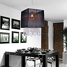 LightInTheBox Stylish Pendant Light with Black Fabric Shade, Mini Style, Crystal Ceiling Lights for Dining Room, Bedroom, Living Room