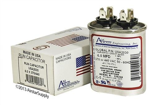 6 uf/Mfd Oval Universal Capacitor Replacement Amrad USA2030 Replacement - Used for 370 or 440 VAC, Made in The U.S.A.