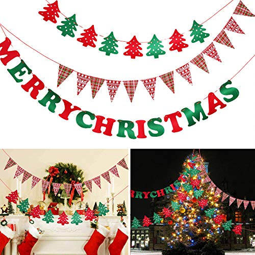 Fabric Merry Christmas (Ellsang Merry Christmas Banners, 13FT Felt Fabric Christmas Fireplace Wall Banner 3 Types, Garland Bunting Sign Christmas Hanging Decorations Indoor Outdoor)
