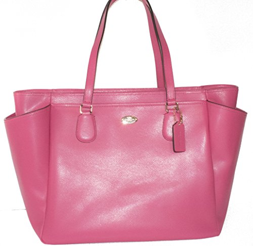 COACH Crossgrain Leather Baby Diaper Bag Multifunction Tote in Light Gold / Dahlia Pink 35702