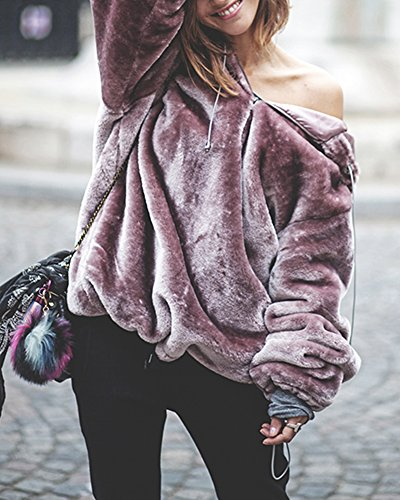 Pxmoda Women's Long Sleeve Oversize Fuzzy Warm Fleece Hoodies Outwear (M, Purple) by Pxmoda (Image #2)