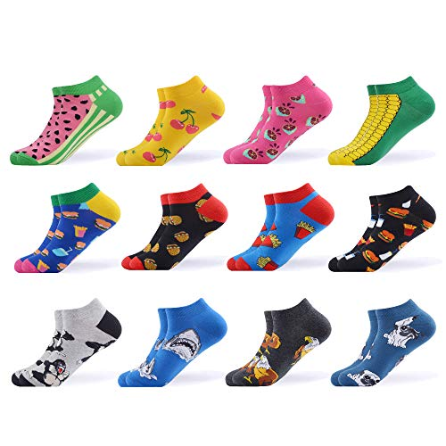 Funny Cotton - WeciBor Men's Dress Cool Colorful Fancy Novelty Funny Casual Combed Cotton Ankle Socks Pack (B052-09)