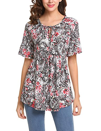 SoTeer Women's Short Ruffle Sleeve Floral Print Boho Tunic (Side Tie Tunic)