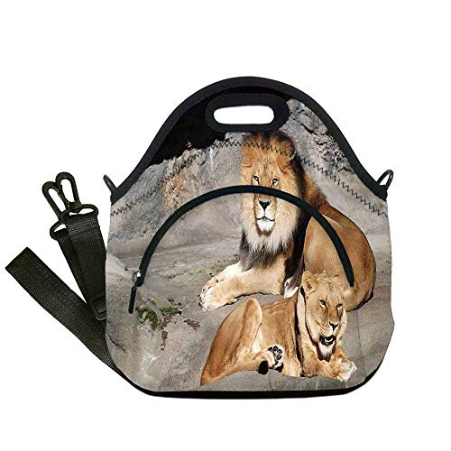 Zoo Portable Neoprene Lunch Bag,Male and Female Lions Basking in the Sun Wild Cats Habitat King of Jungle for Work Office Picnic Travel Mom Bag,With Pocket(12.6''L x 6.3''W x 12.6''H) ()