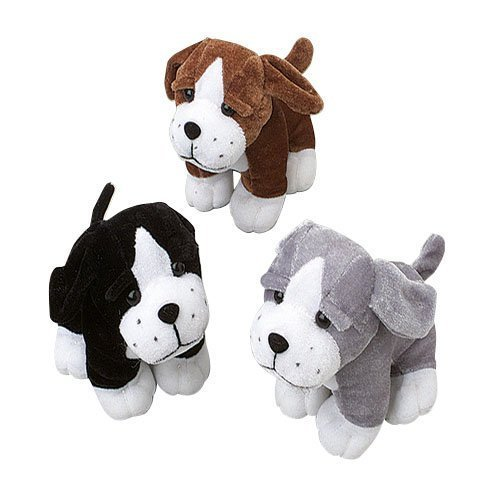 US Toy Sitting Puppy Dog Stuffed Animals Plush (1 Dozen), Assorted Color