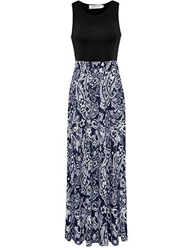 Aphratti Women's Bohemian Sleeveless Maxi Long Dress with Elastic Waistband Medium Multi/White Print