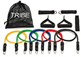 Tribe 11PC Premium Resistance Bands Set, Workout Bands - with Door Anchor, Handles and Ankle Straps - Stackable Up To...