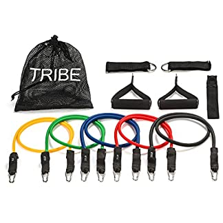 Tribe-11PC-Premium-Resistance-Bands-Set-Workout-Bands-with-Door-Anchor-Handles-and-Ankle-Straps-Stackable-Up-To-105-lbs-For-Resistance-Training-Physical-Therapy-Home-Workouts-Yoga-Pilates
