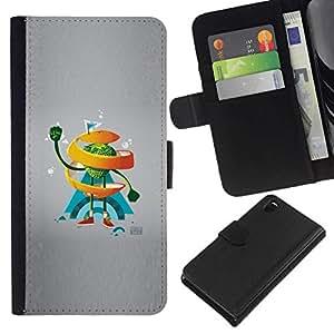 NEECELL GIFT forCITY // Billetera de cuero Caso Cubierta de protección Carcasa / Leather Wallet Case for Sony Xperia Z3 D6603 // Naranja del remolino de Hombre