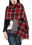 Urban CoCo Women's Tartan Plaid Blanket Scarf Winter Checked Wrap Shawl (Series 3 red)