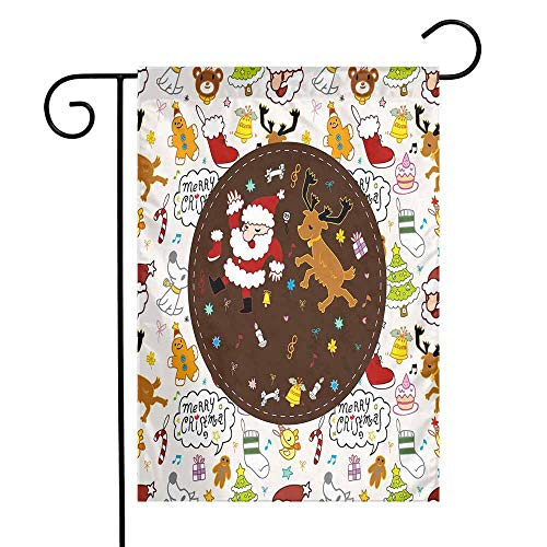 Dancing Santa Reindeer - Mannwarehouse Kids Christmas Garden Flag Dancing Santa and Reindeer Happy New Year Cute Childish Party Icons Doodle Premium Material W12 x L18 Multicolor
