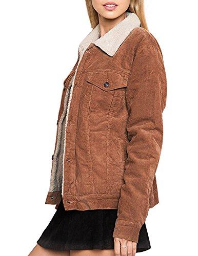 HaoDuoYi Womens Fashion Faux Fur Collar Corduroy Coat Winter Jacket(XXL) by HaoDuoYi (Image #3)
