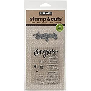 Hero Arts Stamp and Cut Congrats Stamp with Matching Die Cut Set
