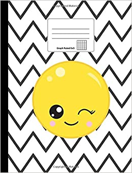 buy emoji composition notebook winking emoji graph paper 5x5 softcover 100 sheets200 pages 9 34 x 7 12 247 cm x 19 cm emoji notebooks