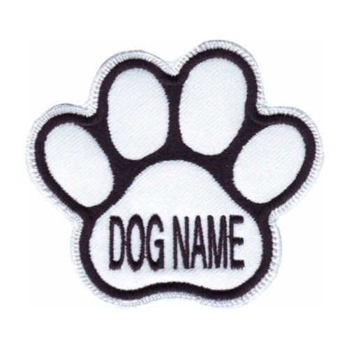Custom Dog Name Paw (White) Embroidered Sew On Patch