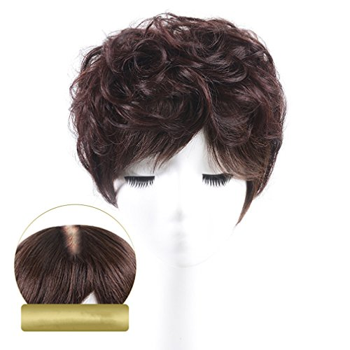 "Moreal 5"" x 5.5"" Short Curly Human Hair Topper Clip in Top H"