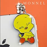 Ip387b Cute Tweety Bird Cell Phone Charm Dust Proof Plug Cover fit for iPhone Android ear jack 3.5mm