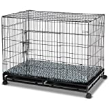 "48"" Metal Pet Cage Wheeled Cat Crate Collapsible Dog Kennel with 2 Trays Cushion & Cover"