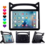 New iPad 9.7 2018/2017 Case for Kids, ThreeJ Lightweight Shockproof Protective Case Double Stand for Apple iPad 9.7 inch 2018/2017 (iPad-9.7, Black)