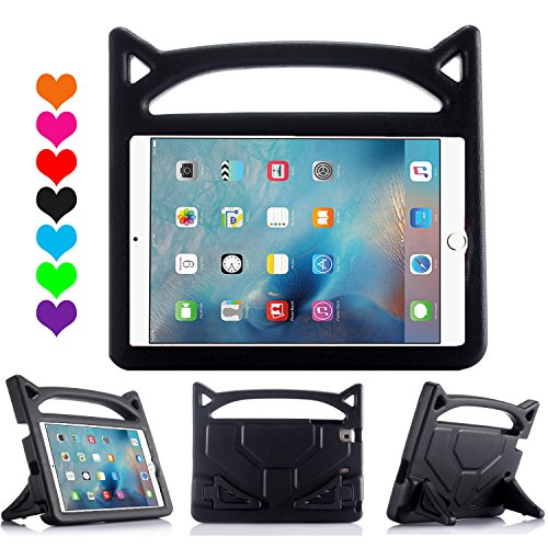 Riaour All-New iPad 2017/2018 9.7 inch Case/iPad Air Case, Kids Friendly Light Weight Shock Proof Handle Stand Cover for for Apple New iPad 9.7inch(2017/2018 Version) and iPad Air(New Black)