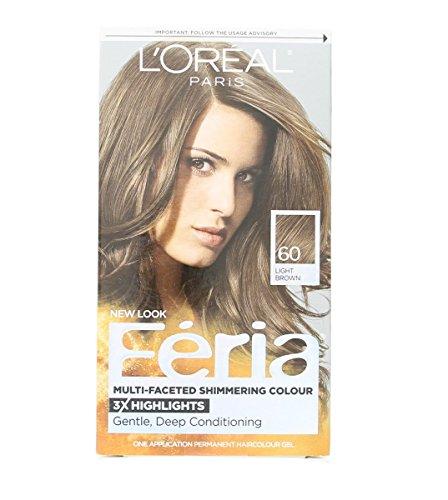 L'Oreal Feria Multi-Faceted Shimmering Color, 60 Light Brown, 1 ea (Pack of (Feria Multi Faceted Shimmering Colour)