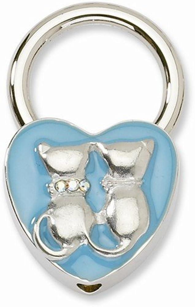 RoseCharm - Llavero con diseño de gatos en tono plateado con cristales esmaltados