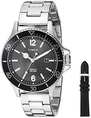 Timex Men's TWG019700 Harborside Silver-Tone/Black Stainless Steel Bracelet Watch Gift Set + Black Genuine Leather ()