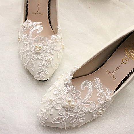 Jingxinstore 5 Cm Sehrs Weisse Spitze Perle Hochzeit Schuhe Braut