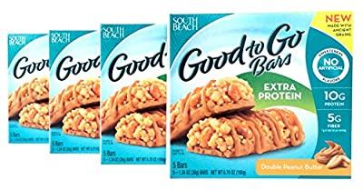 South Beach Diet Good to Go, Double Peanut Butter Flavor, 5 - 1.34 Ounce Bars (Pack of 4)