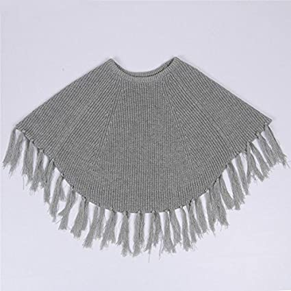 MMBeauty Baby Girls Solid Tassel Round Neck Knitted Poncho Cloak Coat Biege