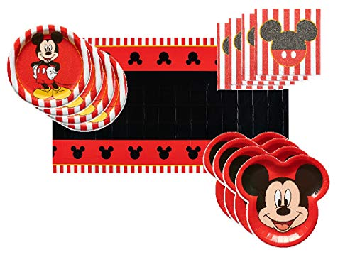 Mickey Mouse Party Supplies Tableware Bundle Pack for 16 Clubhouse Guests - Includes 16 Dinner Plates, 16 Dessert Plates, 16 Dinner Napkins, and 1 Tablecover]()