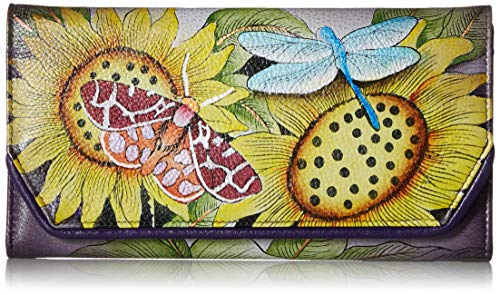 1855 Art - Anna by Anuschka Women's Leather Hand Painted Checkbook Wallet/Clutch | Tuscan Paradise, One Size