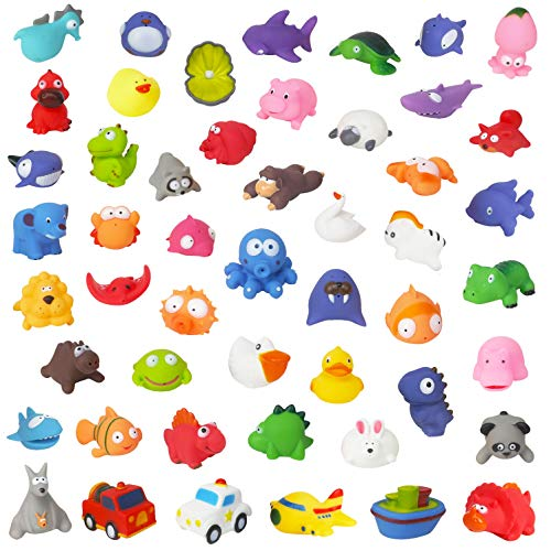 Liberty Imports Water Bath Squirties - Fun Floating Squeeze and Squirt Bathtub Squirters - Ideal Toys for Kids, Babies, Toddlers Bathtime (50 Piece - Pool Squirter