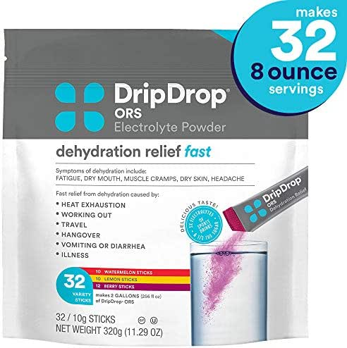 DripDrop ORS - Patented Electrolyte Powder for Dehydration Relief fast - For Heat Exhaustion, Hangover, Illness, Sweating & Travel Recovery, Variety Pack, 32Count