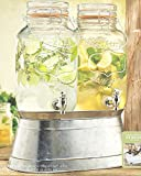 Palais Glassware Clear Glass Beverage Twin Dispenser with Bail & Trigger Locking Lid - 1 Gallon Each, with Ice Bucket Base (Quality)