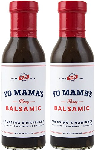 Yo Mama's Foods' Natural Balsamic Vinaigrette Salad Dressing and Marinade - Low Sugar, Low Cal, Low Carb, Low Sodium, and Gluten-Free!