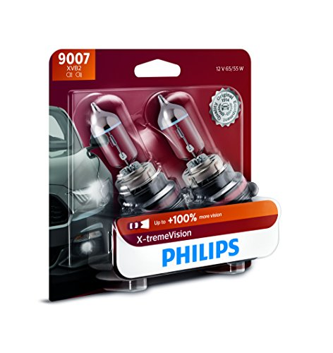 Philips 9007 X-tremeVision Upgraded Headlight Bulb with up to 100% More Vision, 2 Pack