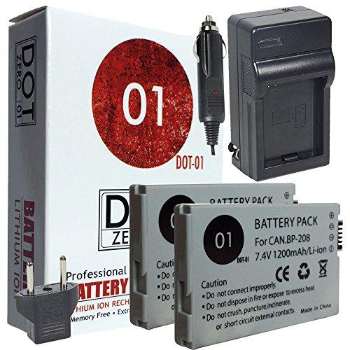 2x DOT-01 Brand 1200 mAh Replacement Canon BP-208 Batteri...
