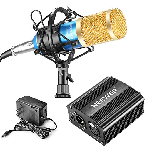 Neewer NW-800 Professional Condenser Microphone(Blue and Gold) and 48V Phantom Power Kit(Black) with Mic Shock Mount, XLR Audio Cable for Home Studio Sound Recording, Podcasting