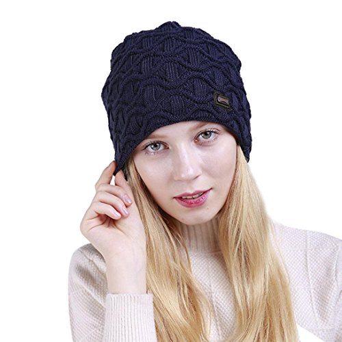 YANG-YI Hot, 2017 Unisex Fashion Solid Wave Warm Crochet Winter Hat Knit Ski Caps (Navy, (Wave Knitting Bag)