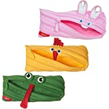 ZIPIT Animals Pencil Case, 3-Pack (Bunny, Chicken, Frog)