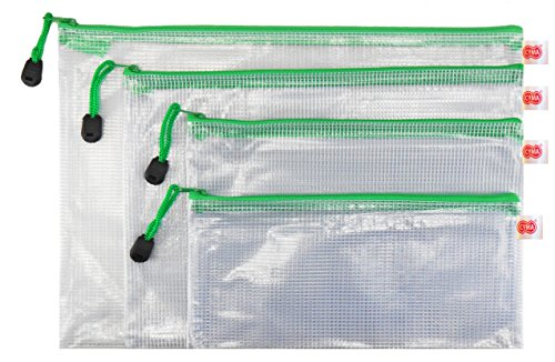 PVC Zippered Envelope Organization Storage Pouch Bags (4, Green) by CYMA
