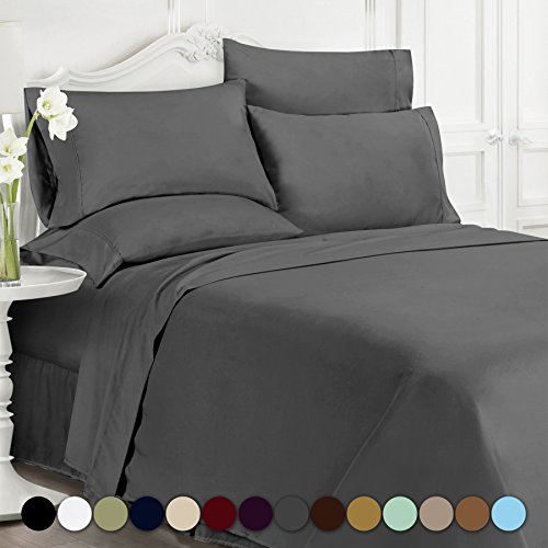 Swift Home® Premiere 1800 Collection Brushed Microfiber -6 Piece Sheet Set(Includes 2 Bonus Pillowcases), King, Grey