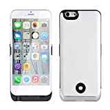 Roger® for iPhone 6 4.7 Inches Power Bank 3800mAh External Rechargeable Backup Battery Ultra Slim Leather Back Cover White