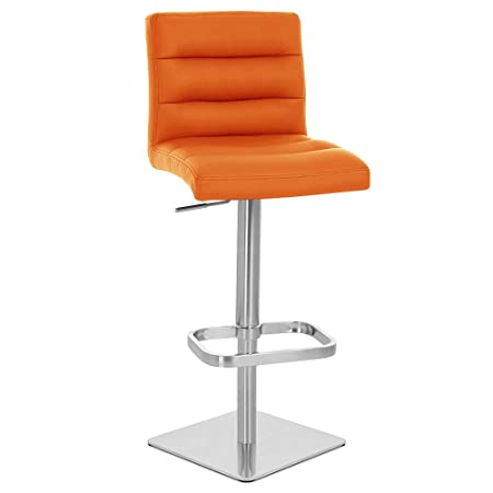 Zuri Furniture Orange Lush Square Base Adjustable Height Swivel Armless Bar Stool