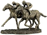 12.63 Inch Two Jockeys Horse Racing Cold Cast Bronze Figurine
