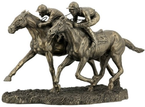 12.63 Inch Two Jockeys Horse Racing Cold Cast Bronze Figurine (Horse Racing Figurines)