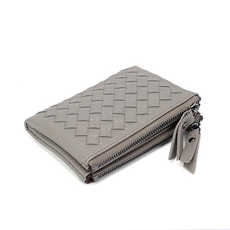 Tejido pequeño tipo bolso de mano True color Monedero doble cremallera embrague billetera Bolsa Dinero bolsillo