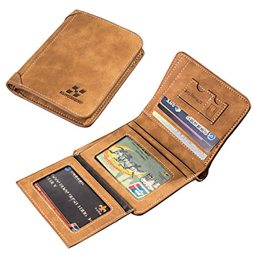 Men's Leather Wallet,Charminer Multi-Card Compact Center Flip Bifold Wallet SIM Card Holder Purse Business Card Holder Clutch Purse Coffee vertical (Card Wallet Triple)