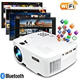 ERISAN Projector Video Home TV Theater, LED Android 6.0 WiFi Bluetooth, 220 ANSI Lumen, Support 1080P Full HD, 2018 Updated Hi-Fi Speaker, Quieter Fan, Mini Smart Video Beam, Multimedia Party Game